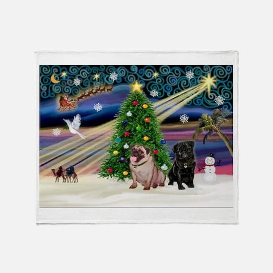 X Mas Magic & Pug Pair Throw Blanket
