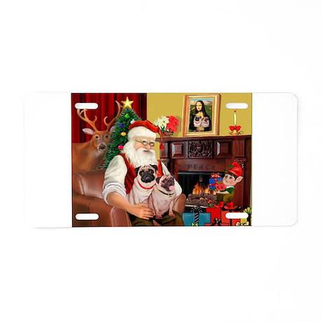 Santa's fawn Pug pair Aluminum License Plate