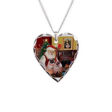 Santa's fawn Pug pair Necklace Heart Charm