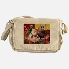 Santa's fawn Pug pair Messenger Bag