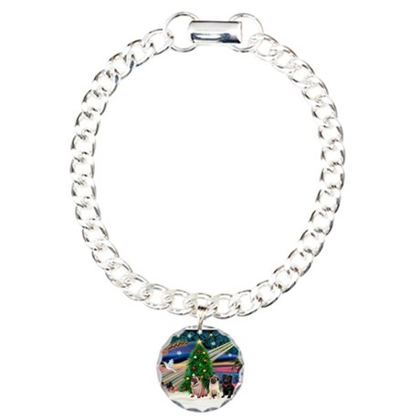 Xmas Magic & 3 Pugs 1b,2f Charm Bracelet, One
