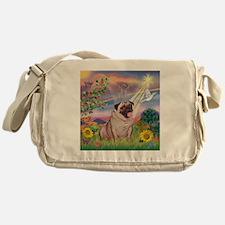 Cloud Angel & Fawn Pug Messenger Bag