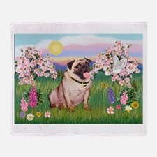 Spring Blossoms & Fawn Pug Throw Blanket
