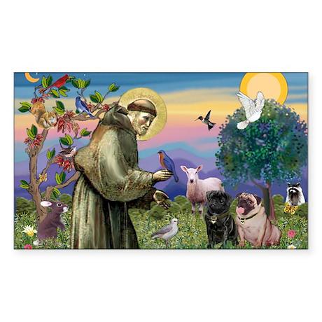 Saint Francis & Two Pugs Sticker (Rectangle)