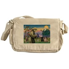 Saint Francis & Two Pugs Messenger Bag