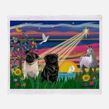 Pug Magical Night Throw Blanket