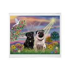 Cloud Angel & 2 Pugs Throw Blanket