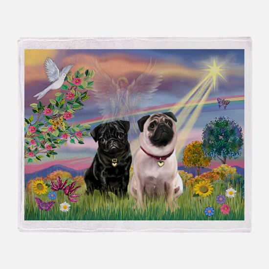 Cloud Angel & 2 Pugs Throw Blanket