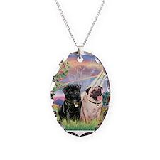 Cloud Angel & 2 Pugs Necklace