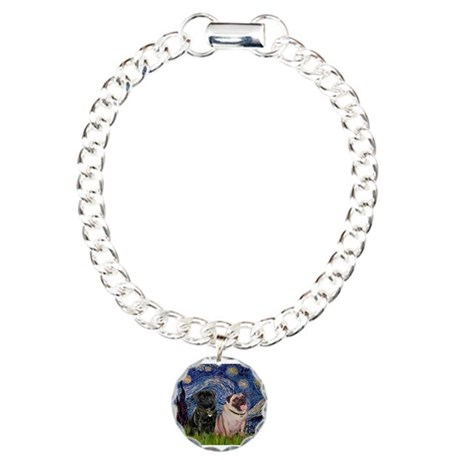Starry Night Pug Pair Charm Bracelet, One Charm
