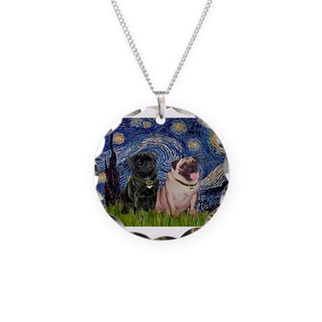 Starry Night Pug Pair Necklace Circle Charm