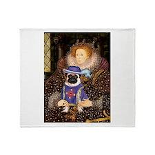 Queen & Sir Pug Throw Blanket