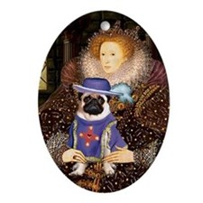 Queen & Sir Pug Ornament (Oval)