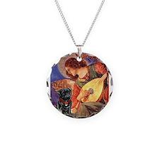 Angel #3) / Black Pug Necklace Circle Charm