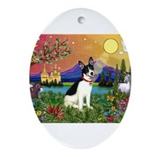 Rat Terrier in Fantasy Land Ornament (Oval)