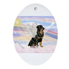 Clouds / Rottie Ornament (Oval)