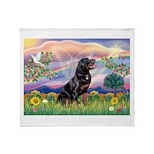 Cloud Angel & Rottweiler Throw Blanket