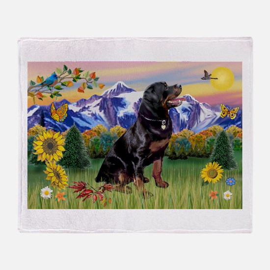 Rottie in Mt. Country Throw Blanket