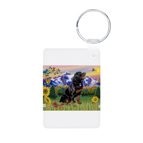Rottie in Mt. Country Aluminum Photo Keychain