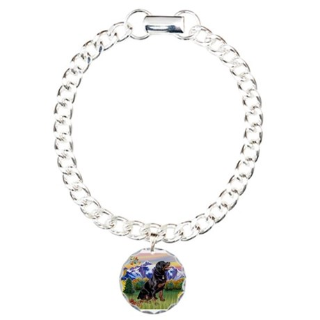 Rottie in Mt. Country Charm Bracelet, One Charm