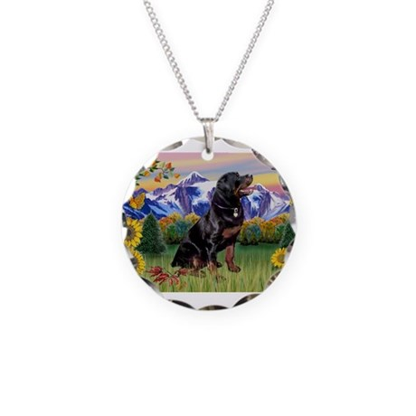 Rottie in Mt. Country Necklace Circle Charm