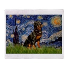 Starry Night & Rottweiler Throw Blanket