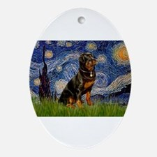 Starry Night & Rottweiler Ornament (Oval)