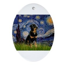 Starry Night & Rottie Ornament (Oval)