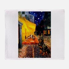 Cafe with Rottie Throw Blanket