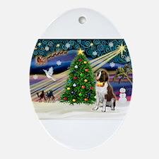 Xmas Magic & St Bern Ornament (Oval)