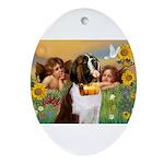 Two Angels & Saint Bernard Ornament (Oval)