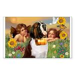 Two Angels & Saint Bernard Sticker (Rectangle)