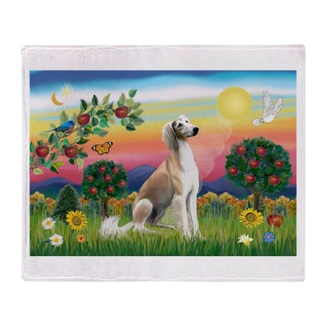 Bright Country with Saluki Throw Blanket