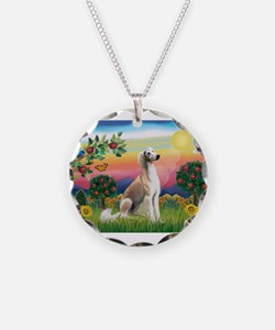 Bright Country with Saluki Necklace Circle Charm