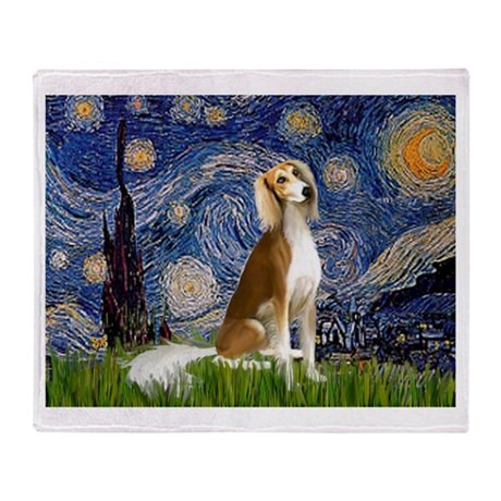 Starry Night & Saluki Throw Blanket