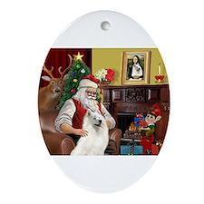 Santa's Samoyed Ornament (Oval)