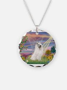 Cloud Angel & Samoyed Necklace