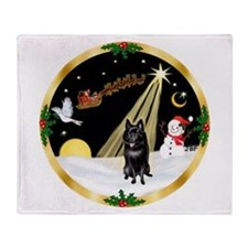Night Flight/Schipperke Throw Blanket