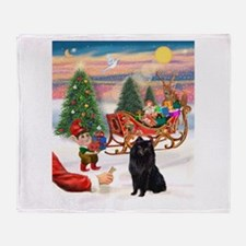 Santa's Treat /Schipperke. Throw Blanket