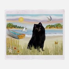 Rowboat / Schipperke Throw Blanket