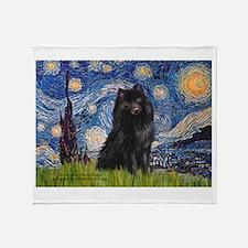 Starry Night Schipperke Throw Blanket
