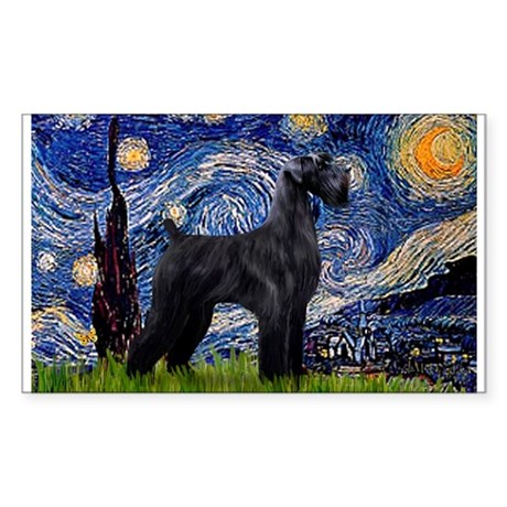 Starry Night Schnauzer Sticker (Rectangle)