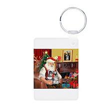 Santa's 2 Schnauzers Keychains