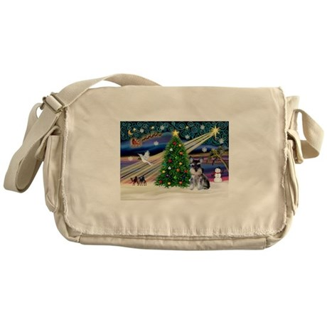 Xmas Magic & Schnauzer Puppy Messenger Bag