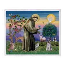 St Francis & Schnauzer (#5) Throw Blanket