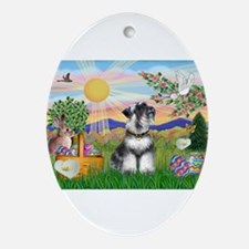 Easter Schnauzer Ornament (Oval)