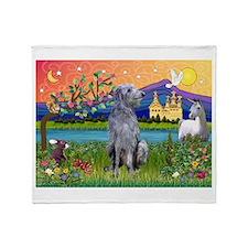 Deerhound in Fantasy Land Throw Blanket