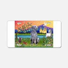 Deerhound in Fantasy Land Aluminum License Plate