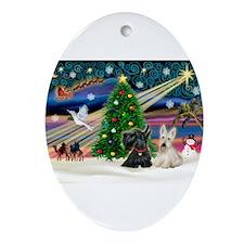 Xmas Magic / 2 Scotties Ornament (Oval)