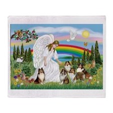 Angel & Five Shelties Throw Blanket